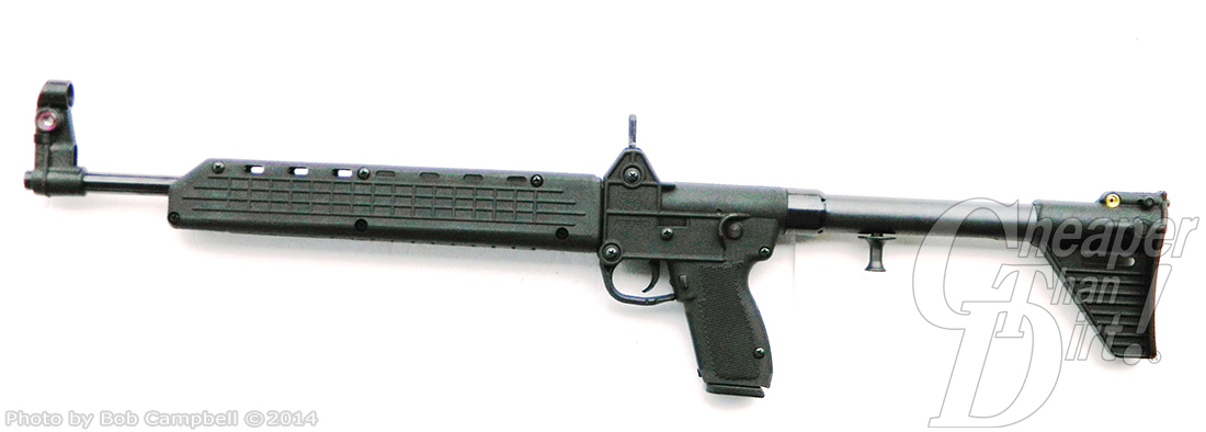 Black Kel-Tec Carbine facing left on a white background.