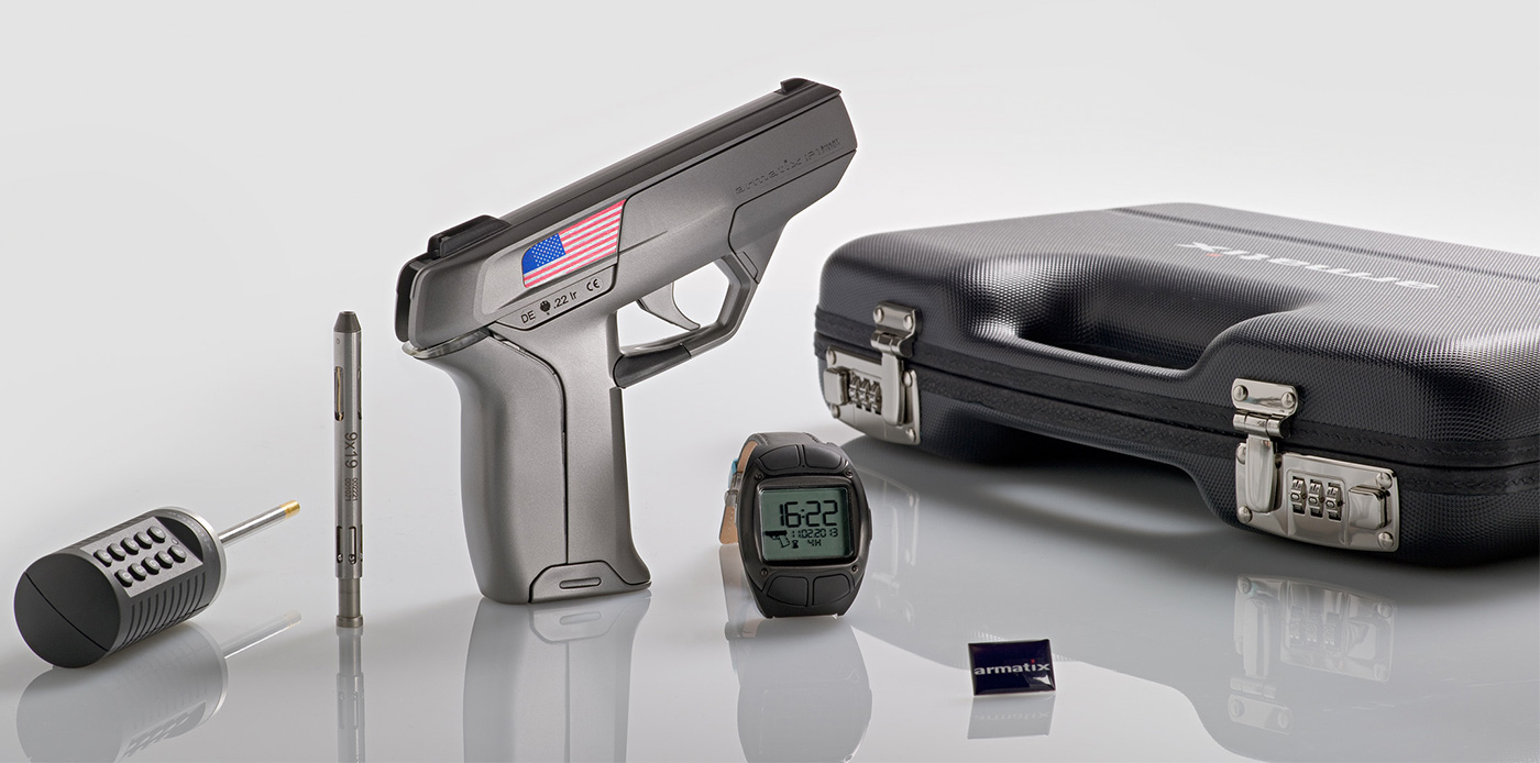"Picture shows the Armatix iP1 ""smart gun."""