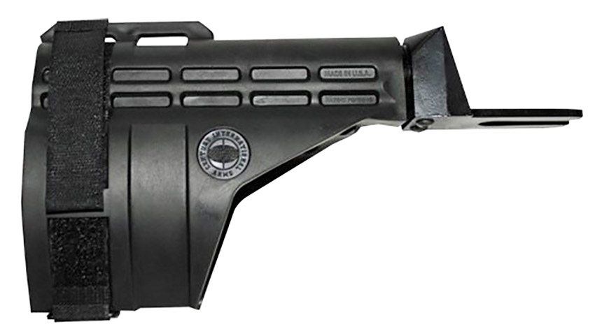 Picture shows a black pistol stabilizing brace.