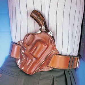 Brown handled .38 in a light tan Galco holster