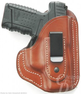Black Walther 9mm in medium tan Bullard IWB Holster on a white background