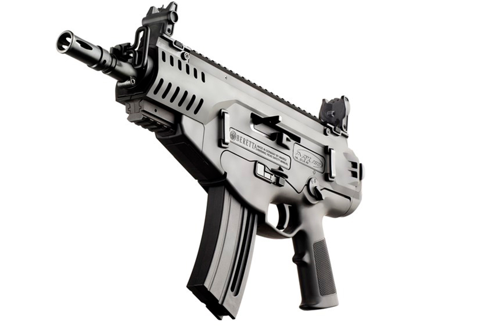 Picture shows the Beretta ARX 160 .22 Long Rifle rimfire pistol.