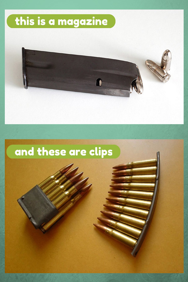 Picture shows an info graphic describing and showing the differences between a clip and a magazine.