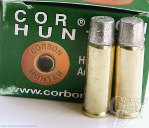 Green box of CORBON ammunition on a gray background