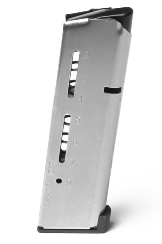 Picture shows a silver 1911 magazine with round count window on the side.