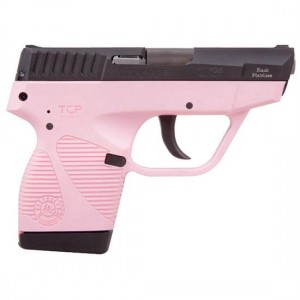 Picture shows a slim pink pistol with black slide made by Taurus.