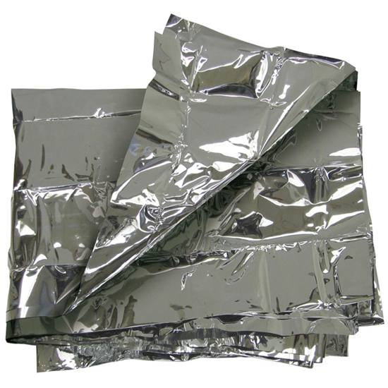 Picture shows a silver emergency blanket folded up.