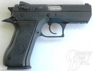 Black 10-shot Baby Desert Eagle II , barrel pointed to the right on a gray-to-white background
