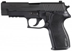 Black SIG P227 barrel pointed to the left on a white background
