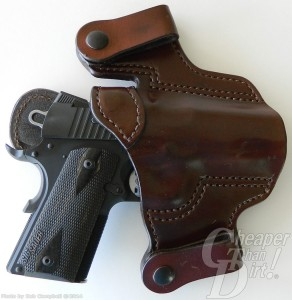 Brown Jason Winnie Inside-the-Waistband Holster with Black SIG Ultra on white-to-gray background