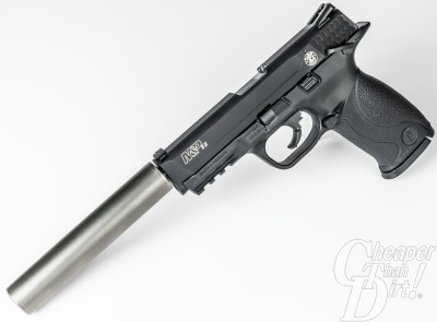 The Smith & Wesson M&P 22 with a Cascade Ti suppressor.