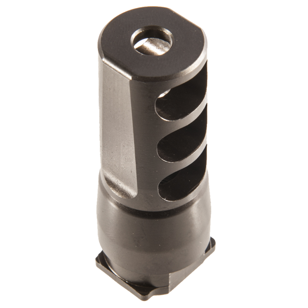 Picture shows a muzzle brake with three ports.