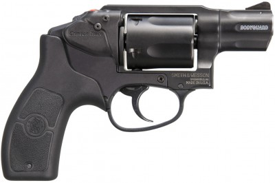 Picture shows a black, small-framed .38 Special revolver with an integrated frame-mounted Crimson Trace laser module.