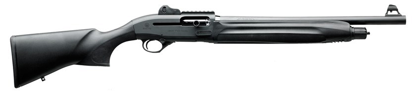 Picture shows a black tactical semiautomatic shotgun.