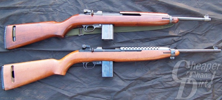 Two brown toned .30 carbines on a dark gray cloth background