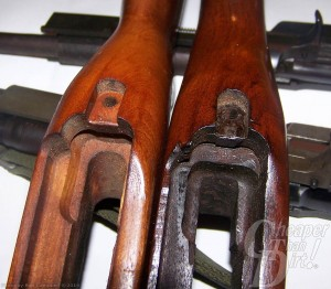 Two brown .30 stocks showing how you can change it to improve accuracy