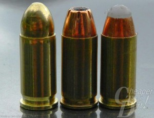 Three .32 ACP cartridges: Left to right- Fiocchi FMJ, Hornady XTP and COR®BON PowRBall.