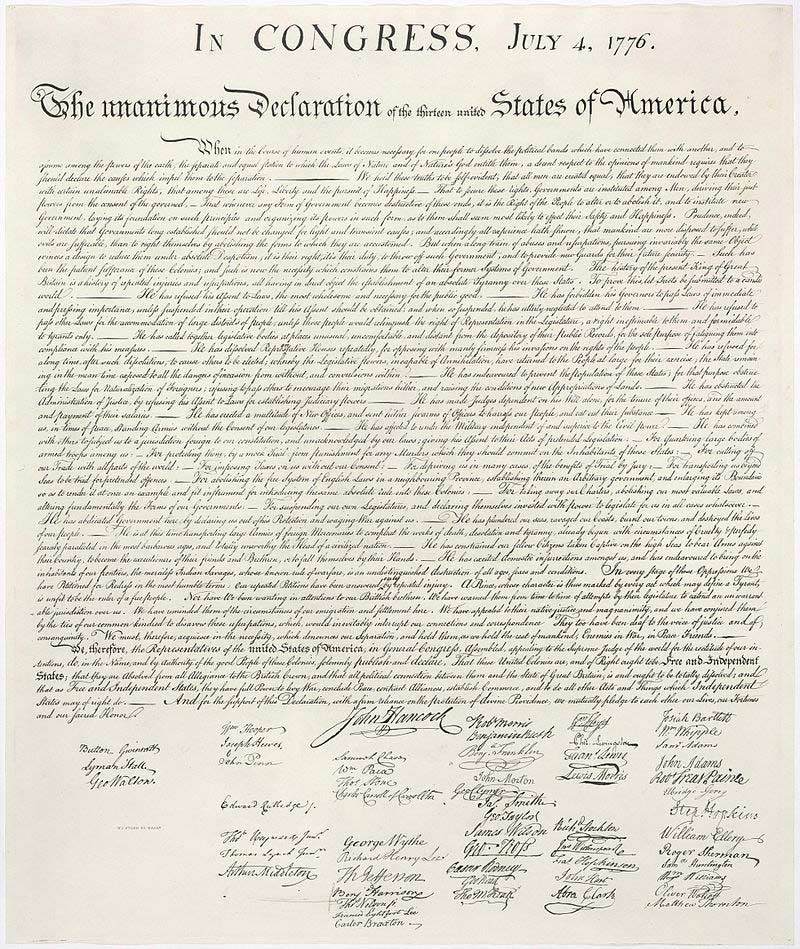 Picture shows a copy of the original document of the Declaration of Independence