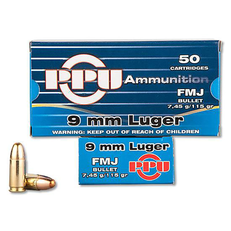 picture shows a blue box of PPU ammo in 9mm.