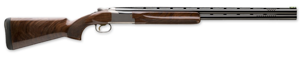 Picture shows a wood over/under shotgun called the Browning Citori 725 Skeet.