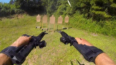 Jerry Miculek Runs AR-15 V-Drill in 3 Seconds Wielding Dual SIG M400s