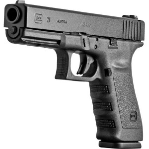 All black GLOCK 21 on a white background, barrel pointed to the left