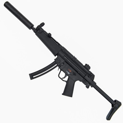 Black HK MP5 barrel pointed up and to the left on a light gray background