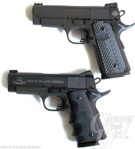 Two black compact 1911 .45s, barrel pointed to the left on a white background