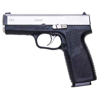 The picture shows a black, polymer-framed full sized Kahr 9mm pistol with steel slide.