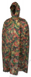 Picture shows a rubberized military surplus rain poncho in Alpenflage camo.