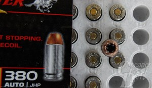 Open box of Winchester .380 ACP Loading showing the cartridges