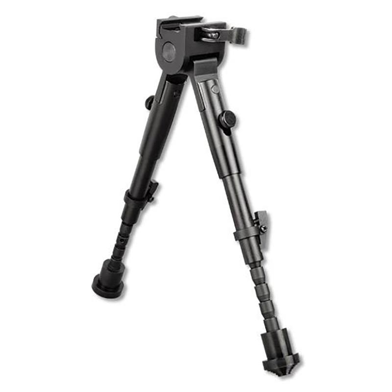 Picture shows a black, adjustable bipod for a rifle.