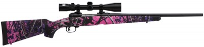 Picture shows a youth-sized Savage rifle finished in pink and purple Muddy Girl camo