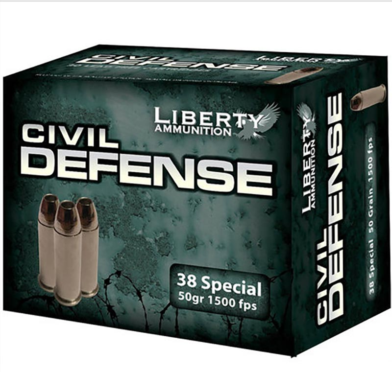 Picture shows a black and green box of .38 Special ammo by Libery Ammo.