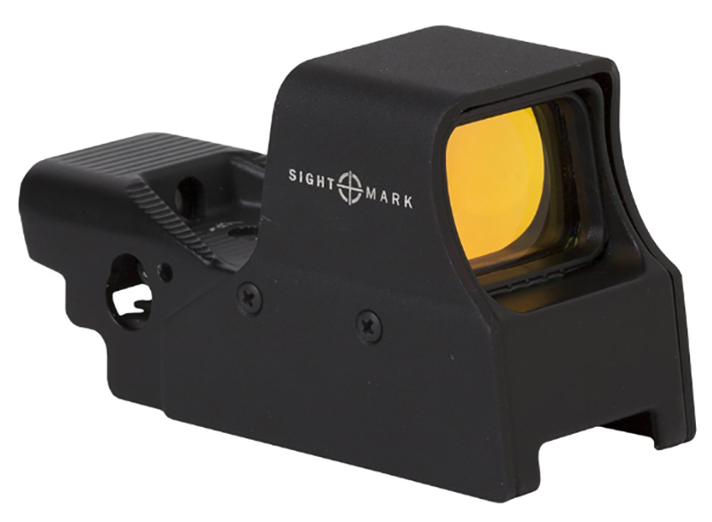 Picture shows the side of a Sightmark red dot sight.