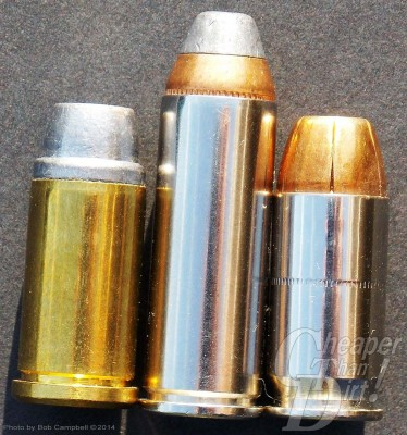 (Left to Right) A .45 Auto Rim with a heavy-cast 255 grain SWC, the .45 Colt with a 260-grain bullet and the .45 ACP with a 230-grain JHP. The .45 AR is easily among the most versatile of all cartridges.