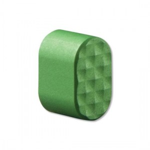 Picture shows a diamond-textured green AR-15 mag release button.