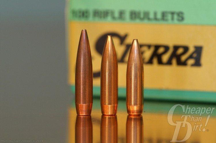 Trio of Sierra bullets