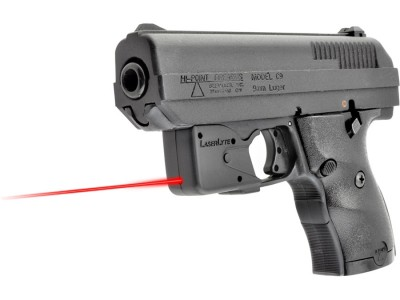 image shows a Hi-Point pistol with a red laser attached