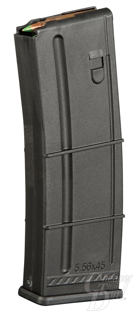 Picture shows a black polymer rifle magazine for the AR-15.