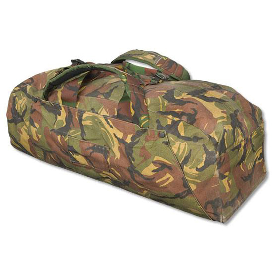 Picture shows a large, Dutch camo military surplus duffle bag with padded handles.