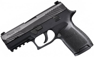 black SIG Sauer P320 9mm pistol left