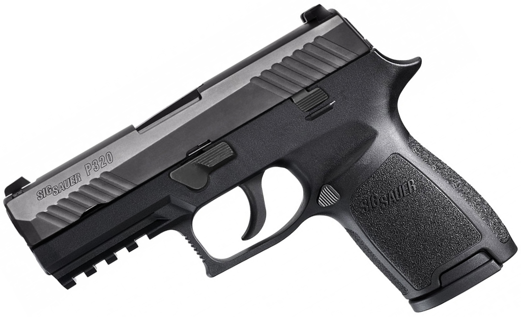 Picture shows a black SIG Sauer P320 9mm pistol.