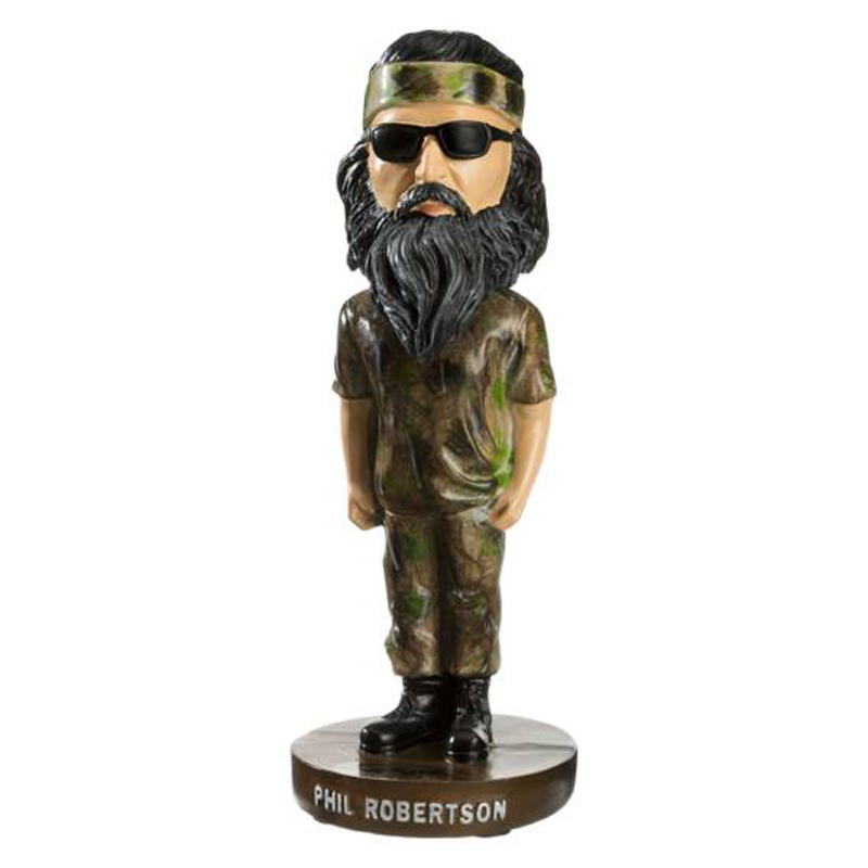 Picture shows a resin bobblehead doll of Phil Robertson from Duck Dynasty.