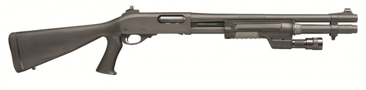 Dark gray Remington 870 on a white background