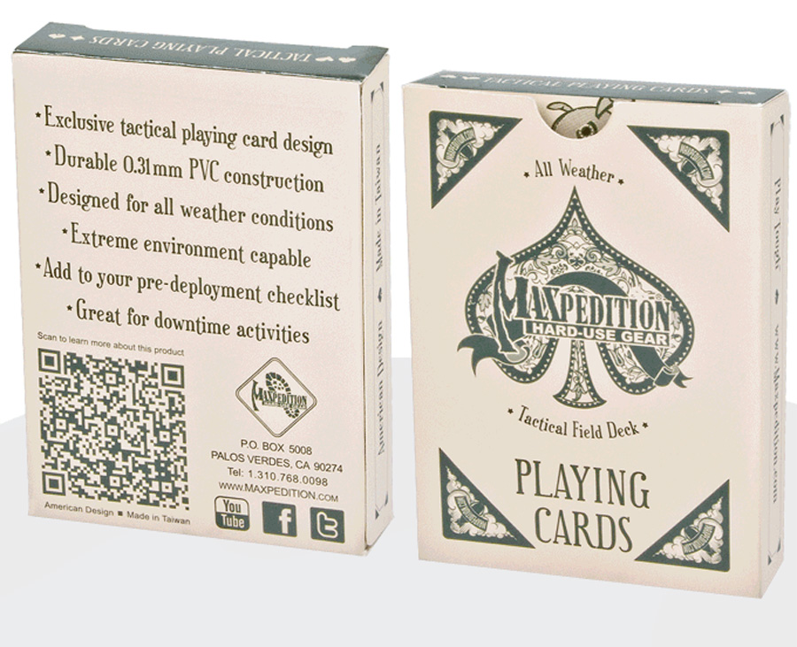 image shows a deck of cards packed in a white box.