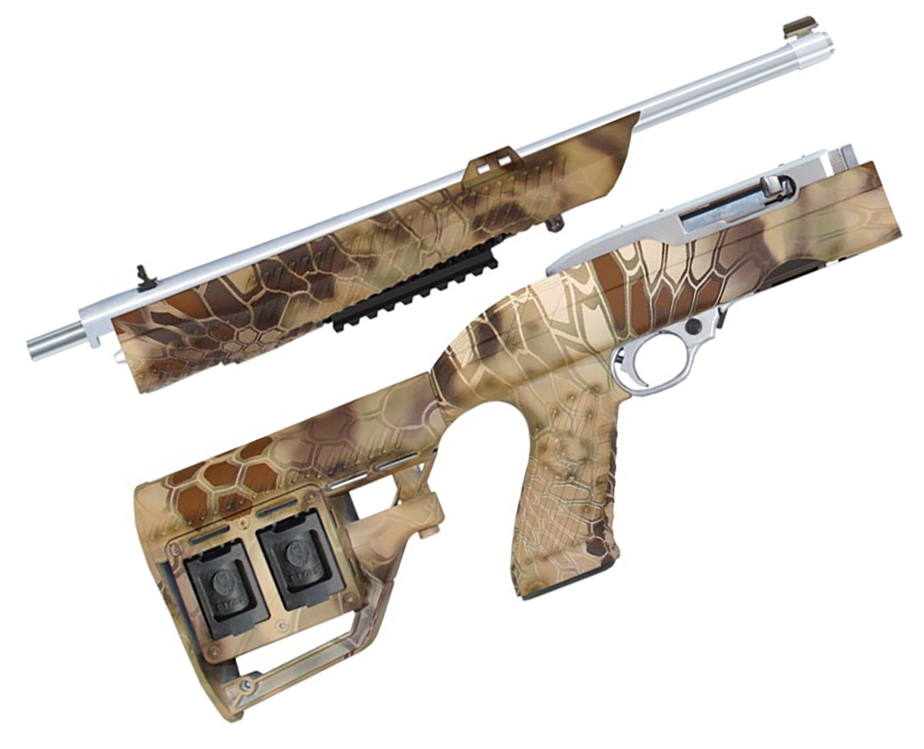 Picture shows a two-piece rifle stock for the Ruger 10/22 in Kriptek Highlander camo