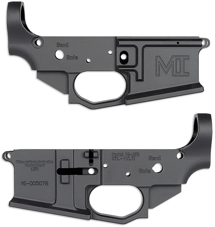 Picture shows the left and right side of a black lower receiver for an AR-15 rifle.