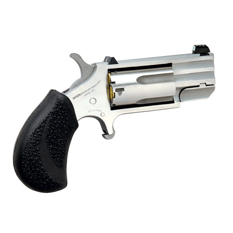 Picture shows a small revolver with thick black grip and shiny steel barrel.