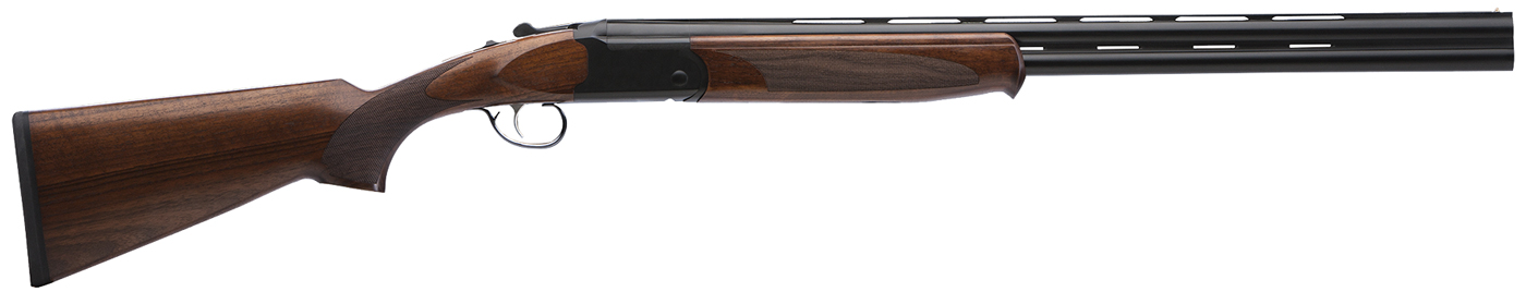 Picture shows an over/under shotgun with black barrel and wood stock.